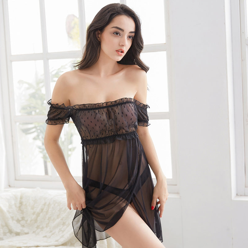 Transparent tulle nightdress one-shoulder lace sexy pajamas home service chiffon suit