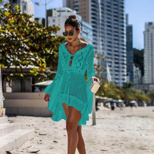 Openwork knit skirt trumpet sleeve beach coat sexy bikini blouse sun protection clothing swimsuit