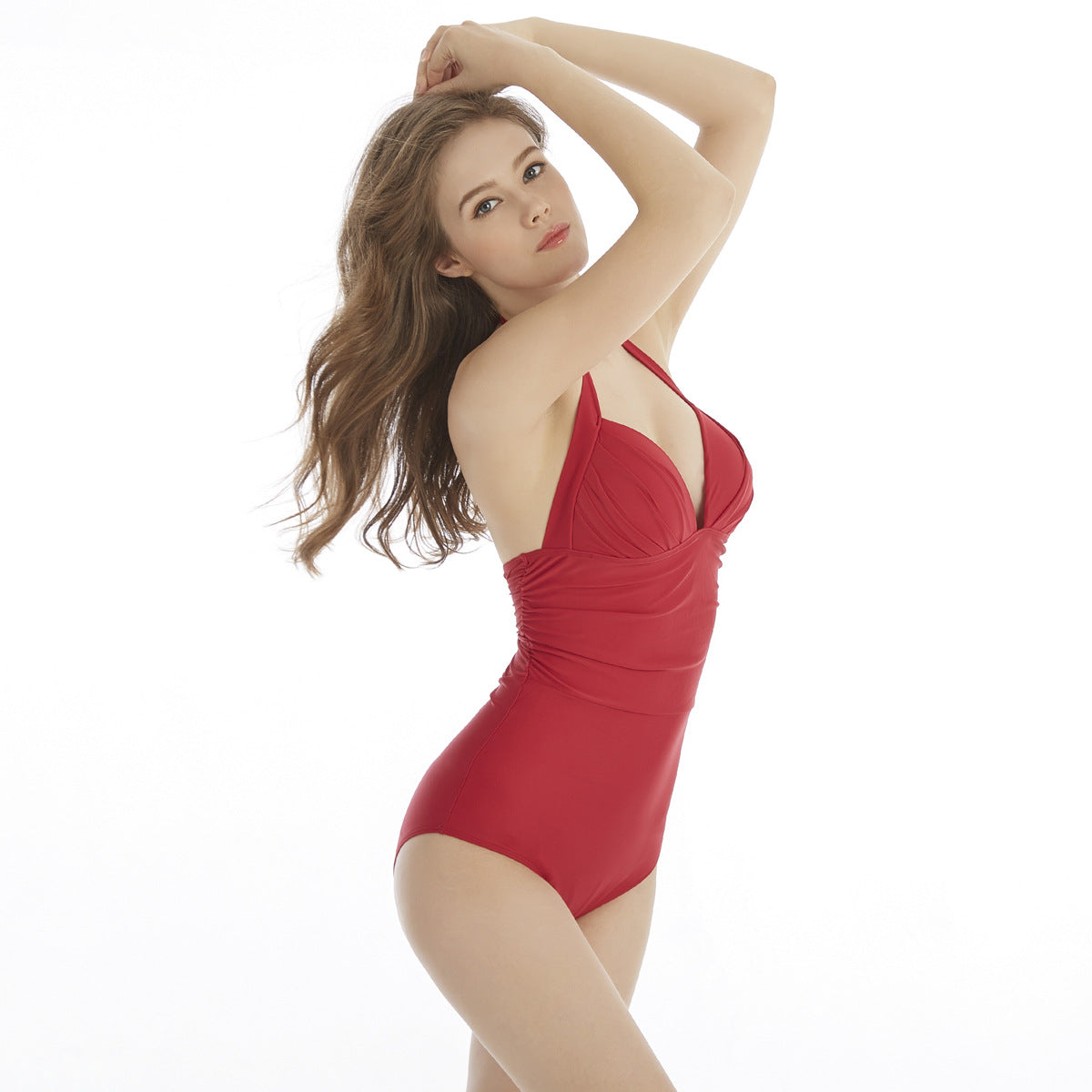 Solid color sexy one-piece swimsuit