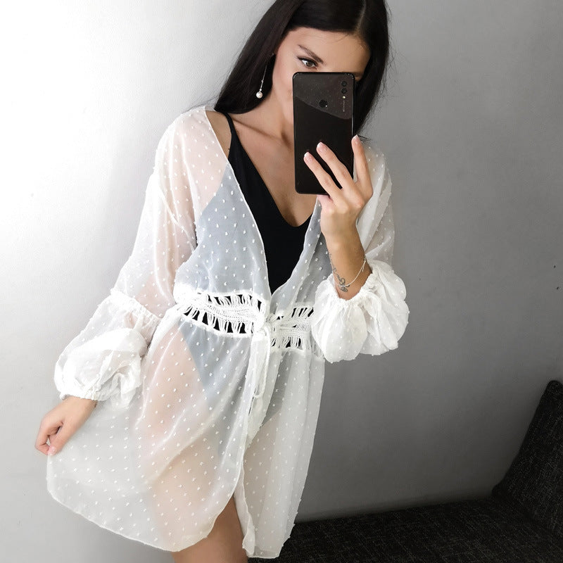 Beach bikini blouse ladies loose hand hook sunscreen shirt jacket