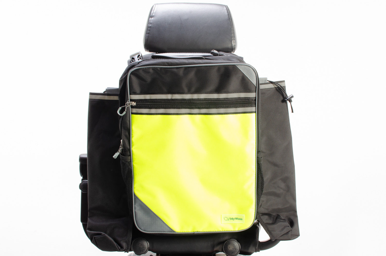 MyWren Hi-Vis Mobility Scooter Seat Bag with Crutch / Stick Holder