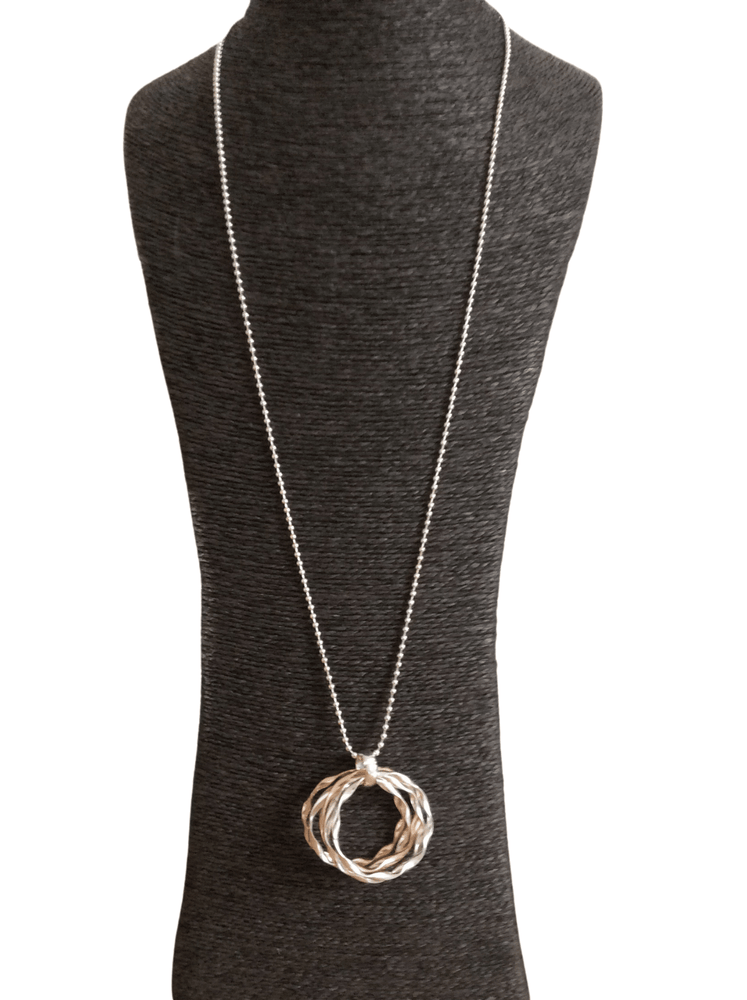 XRISTINA TWO TONE MULTI CIRCLE NECKLACE