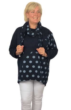 Load image into Gallery viewer, DELANEY POLKA DOT TUNIC TOP WITH MATCHING FRINGE SCARF