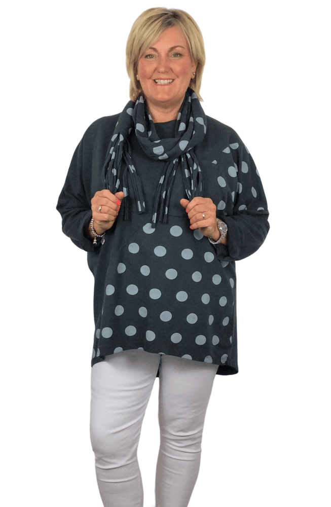 DELANEY POLKA DOT TUNIC TOP WITH MATCHING FRINGE SCARF