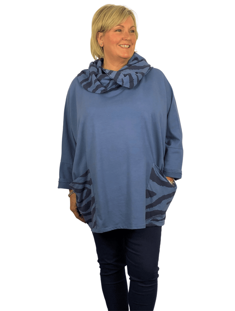 Load image into Gallery viewer, JUNE ZEBRA PRINT TUNIC TOP WITH FABULOUS COWL NECKLINE