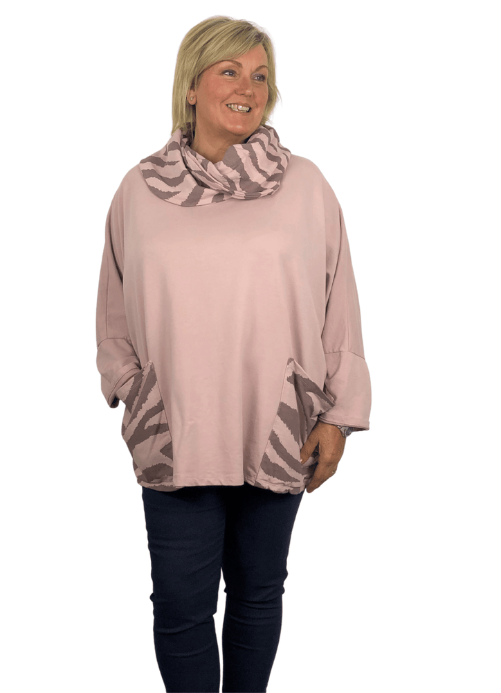 JUNE ZEBRA PRINT TUNIC TOP WITH FABULOUS COWL NECKLINE