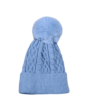 Load image into Gallery viewer, TRINITY CHUNKY CABLE KNIT POM POM HAT