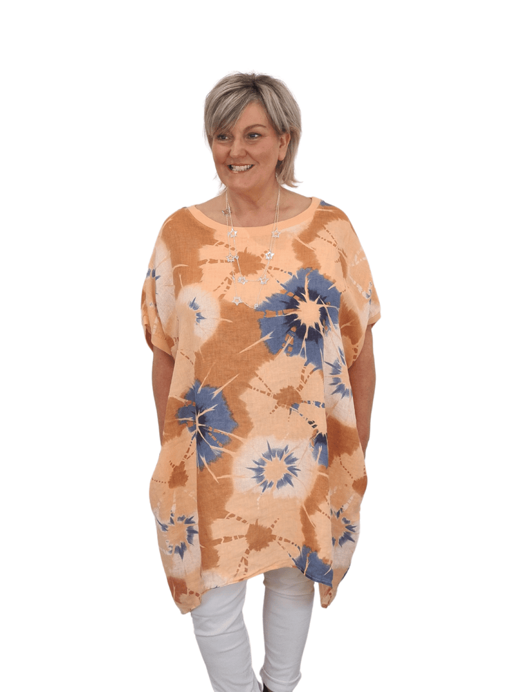 Load image into Gallery viewer, THEA OVERSIZED TIE- DYE LINEN TUNIC DRESS