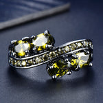 Ring Fashion Black Gold Jewelry