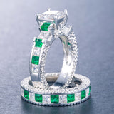 Double Green Blue Square CZ Ring
