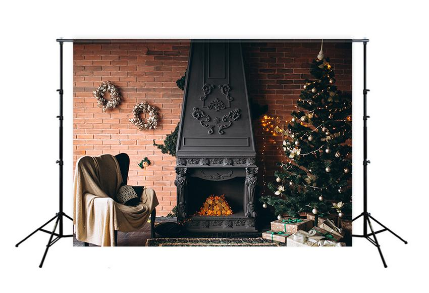 Fireplace Christmas Tree UK Photography Backdrops M1