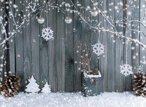 Snowscape Plank Background Christmas backdrop UK for Photography DBD-19324