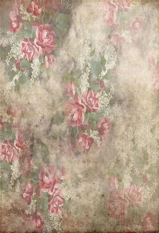 Vintage Shabby Grunge  Red Flowers Photography Backdrop GA-57