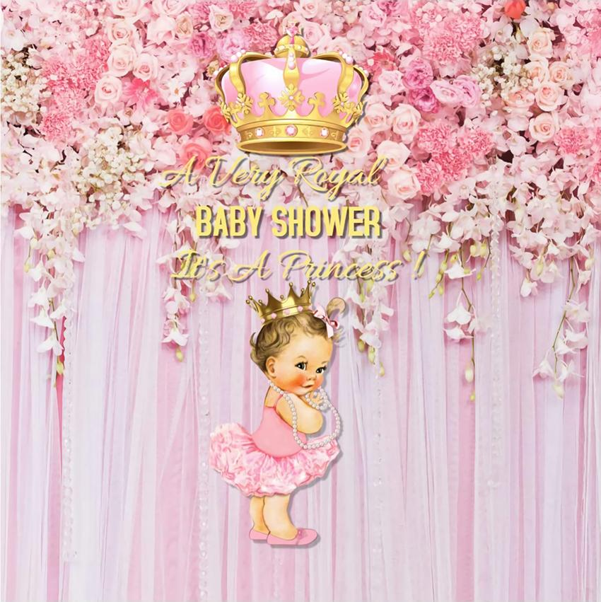 Pink Flowers and Crown Baby backdrop UK BA15