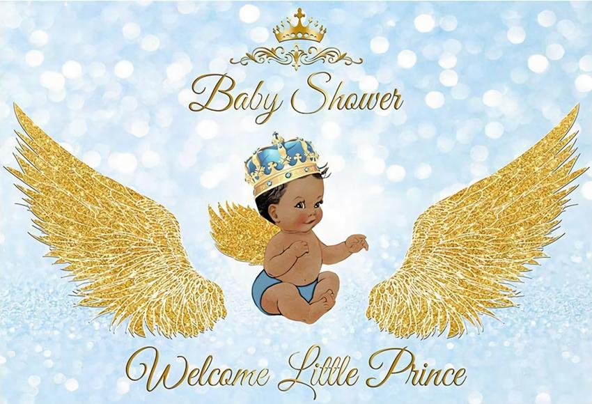 Baby Shower Baby Boy Welcome Little Prince Golden Wings backdrop UK BA32