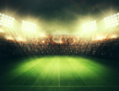 Green Lawn Stadium Lights Football Field Photo Backdrop CM-S-1167-E