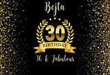 Personized Happy Birthday Banner Custom Gold and Black 30th Photo Backdrop D592