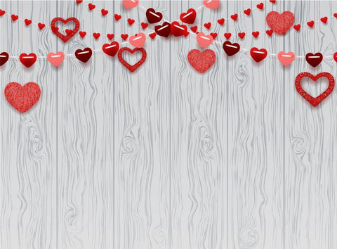 White Wood Texture Love Heart backdrop UK for Photography DBD-19271