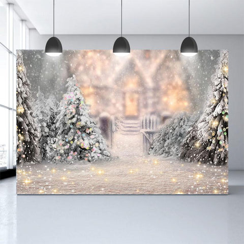 Winter Snow Christmas Tree Bokeh Photo Studio Backdrop G-1194