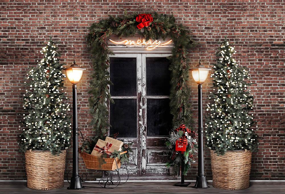 Brick Wall Background Christmas Trees backdrop UK for Merry Christmas G-1436