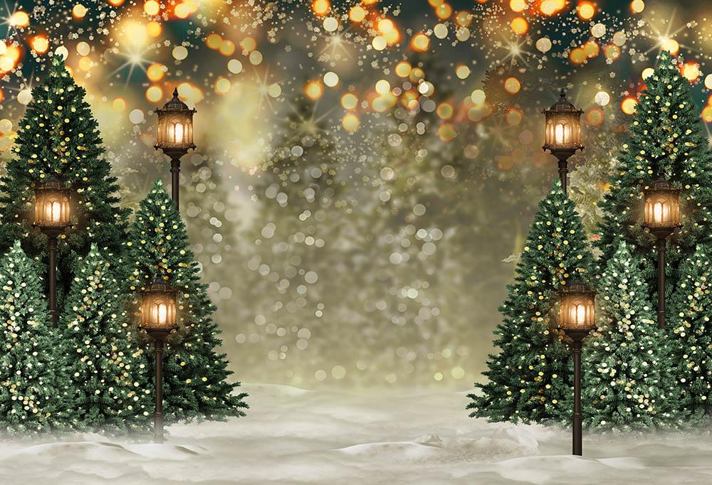 Outdoor Christmas Trees Lights Flashing backdrop UK  G-1440