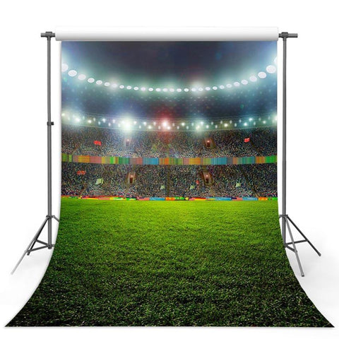 Footable Field Backdrop Sports Stadium Green Grass Backdrops for Photography G-292