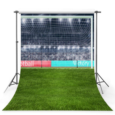 Footable Goal Net Green Grass Lawn  Sport Photo Backdrop G-361