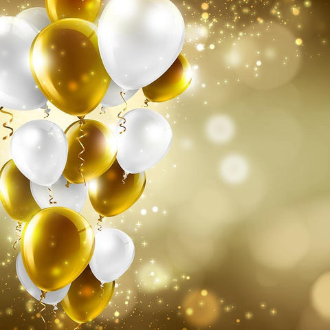 Golden White Balloons Bokeh Brown Backdrop for Photography G-474
