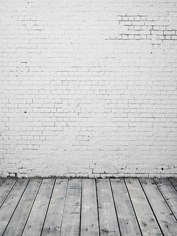 White Old White Brick Wall With Wooden Floor Photo Backdrop G-50