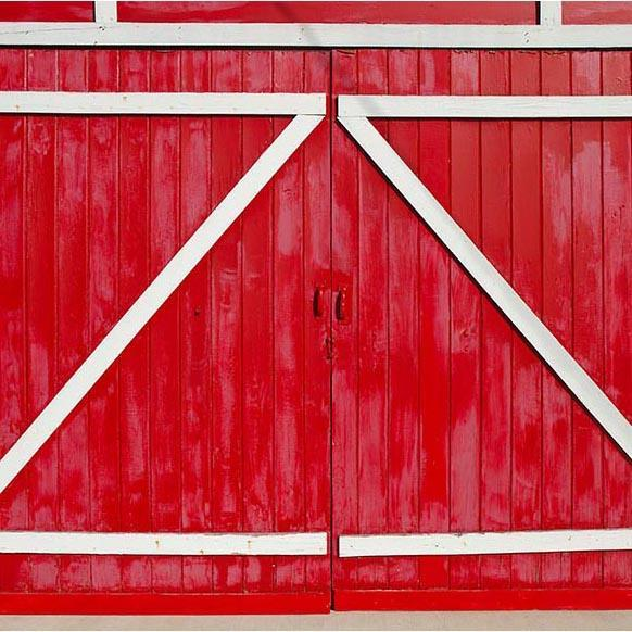 Red Retro Wood Barn Door Backdrop for Photo Booth G-556