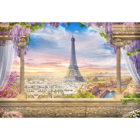 Eiffel Tower Paris City Beautiful Scenery Backdrop for Photo Studio G-660