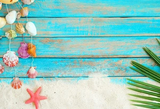 Summer  Beach Sand Starfishs Coconut Leaves Shells Decoration Wooden Backdrop  G-94