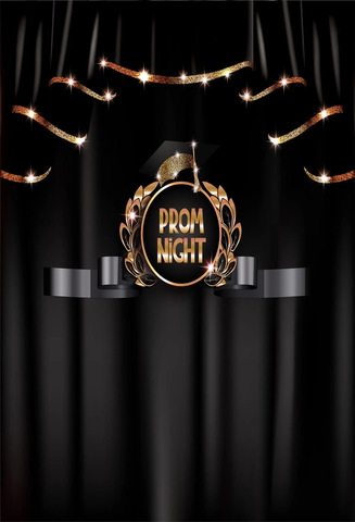 Prom Night Graduation Black Curtain Photo Backdrop G15