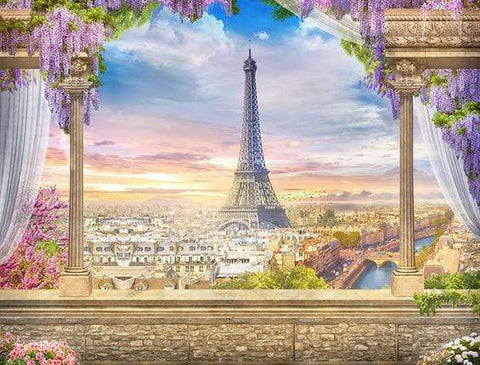 Floral Paris  Eiffel Tower Backdrops for Photo Booth GA-12