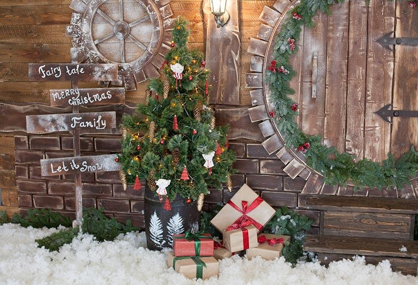 Wooden Door Christmas Tree Gifts backdrop UK for Christmas GX-1065