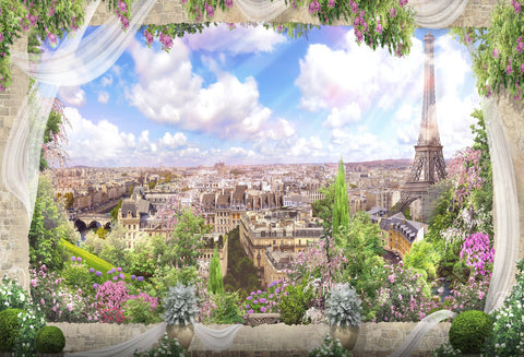 Paris Landmarks Eiffel Tower City View Backdrop for Photography HJ05499