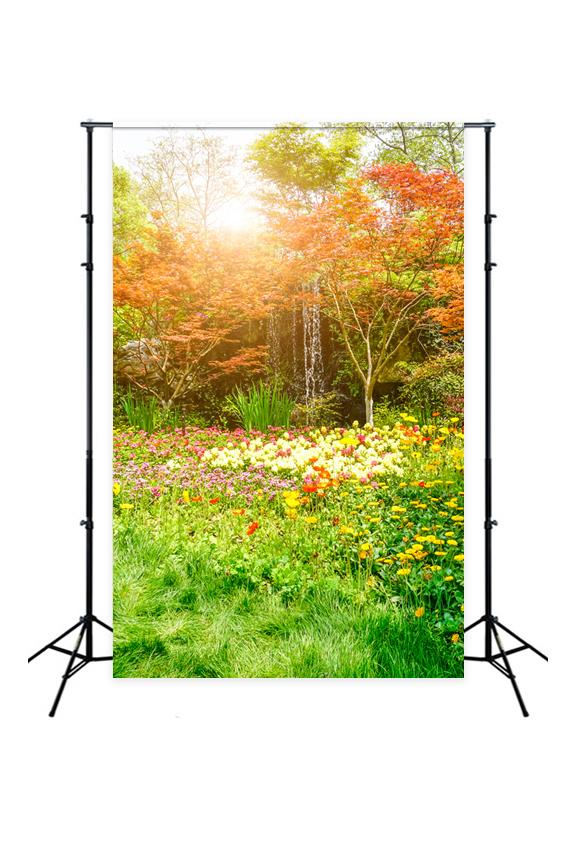 Beautiful Flowers Green Park Backdrops for Photography J05486