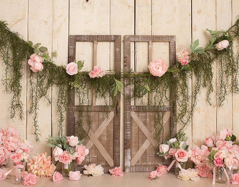 Barn Door Pink Flowers Photography Backdrop NB-322
