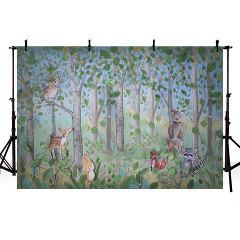 Cute Forest Animal backdrop UK for Baby Photography NB-329