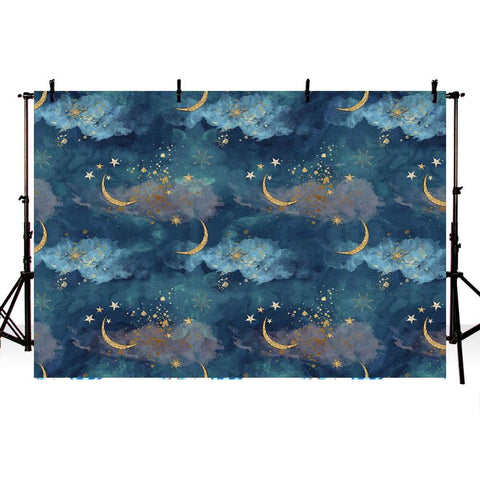 Beautiful Blue Sky Stars and Moon backdrop UK for Photography NB-347