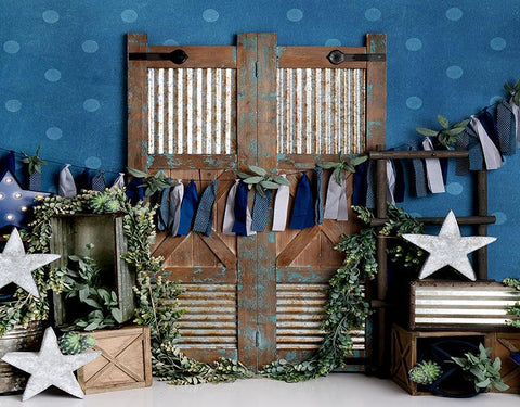 Cute Vintage Wooden Door Blue Background for Newborn Photography NB-456