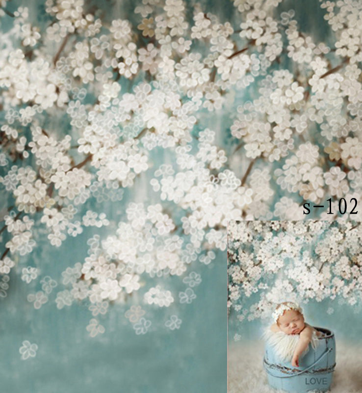 Abstract Floral Blue backdrop UK for Photography CM-S-102