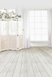 Withe Curtain Window Room Inside Photo Backdrop S-3044