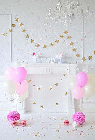 Birthday Party Background Cake Backdrops Pink Backdrop S-3082