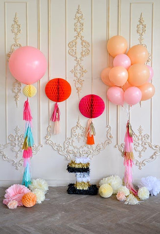 Birthday Background Pink Backdrops Orange Backdrop S-3141