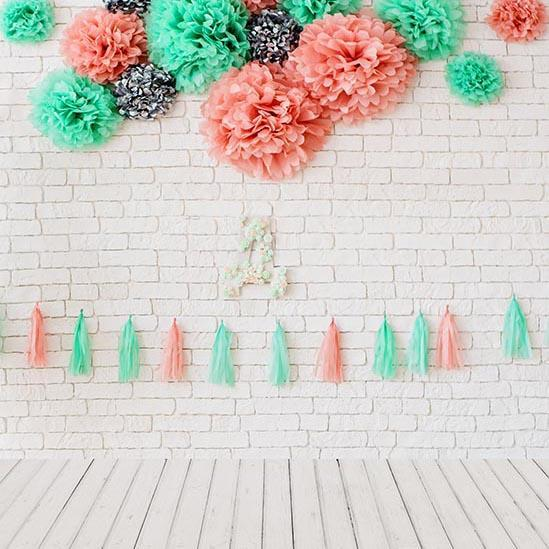 White Brick Wall Flower Decoration for Baby Shower UK S-3187
