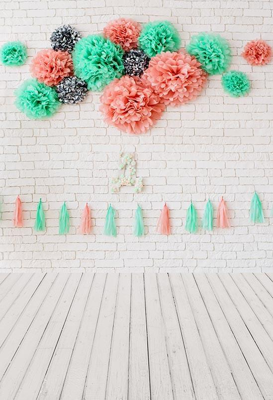 White Brick Wall Flower Decoration for Baby Shower S-3187