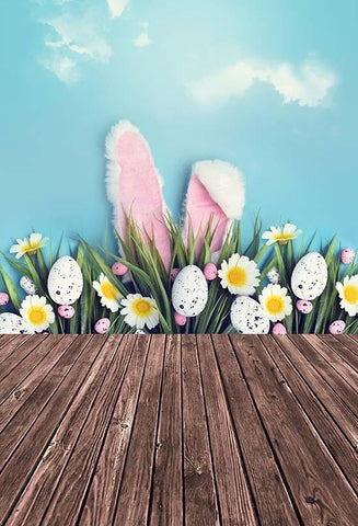 Spring Easter Eggs Flowers Bunny Photography Backdrop S-3235