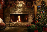Christmas Backdrop Xmas Tree UK Fireplace ST-444