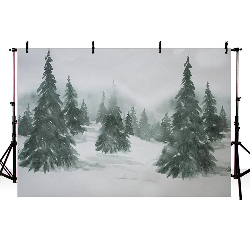 Christmas Trees Painting backdrop UK Snow Fir Trees Background for Photography ZH-147